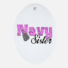Navy Sister Oval Ornament