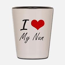 I Love My Nun Shot Glass