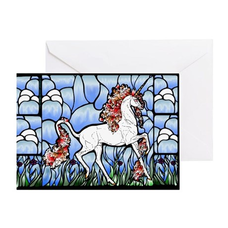Stained Glass Unicorn Greeting Card