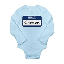 Hello name tag Long Sleeve Infant Bodysuit