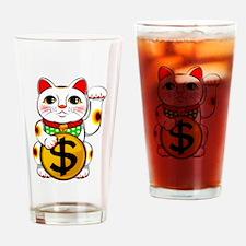 Dollar Lucky Cat Maneki Neko Drinking Glass