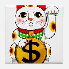 Dollar Lucky Cat Maneki Neko Tile Coaster