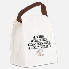 Eat, Sleep, Breathe, Bunnies Canvas Lunch Bag