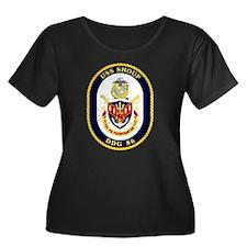 USS Shoup Women's Plus Size Scoop Neck Dark Tee