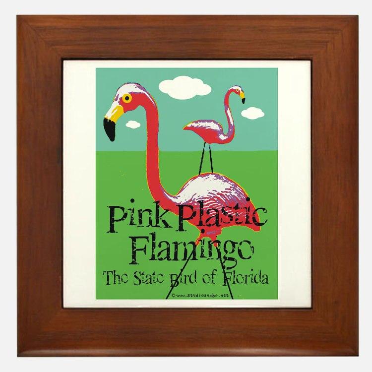 Pink Plastic Flamingo Framed Tile