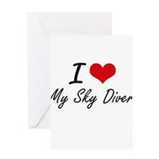 I love My Sky Diver Greeting Cards