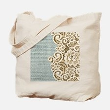 shabby chic lace burlap Tote Bag