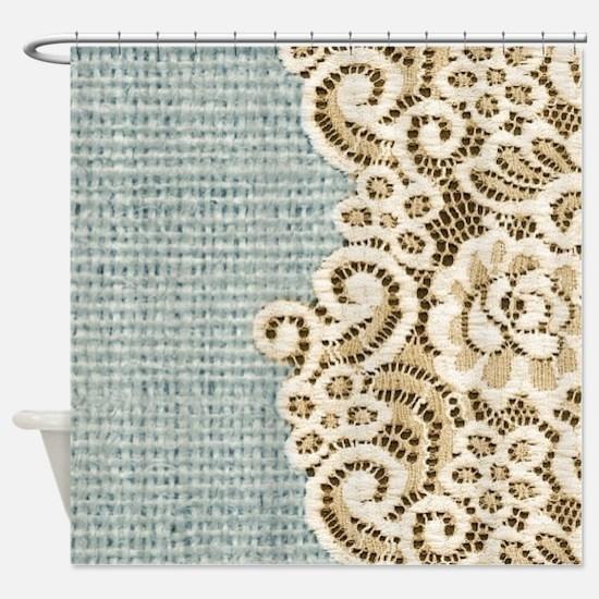 shabby chic lace burlap Shower Curtain