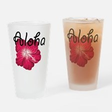Aloha with pink hibiscus Drinking Glass