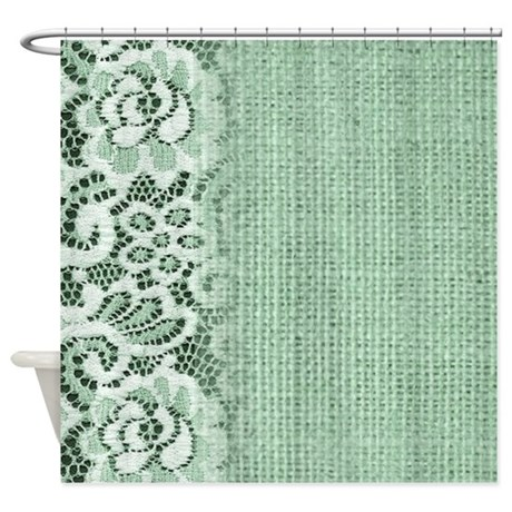 spring mint green burlap lace shower curtain by listing