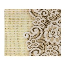 rustic country burlap lace Throw Blanket