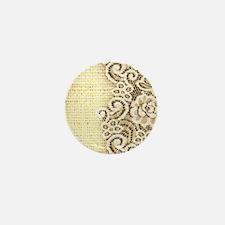 rustic country burlap lace Mini Button