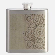 rustic country burlap lace Flask