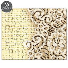 rustic country burlap lace Puzzle