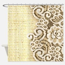rustic country burlap lace Shower Curtain