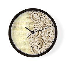 rustic country burlap lace Wall Clock