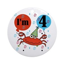 Crab 4th Birthday Ornament (Round)