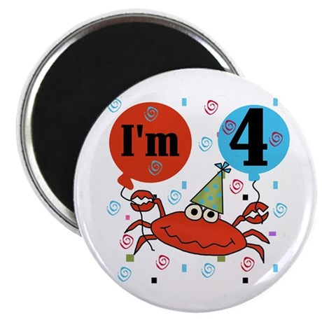 Crab 4th Birthday Magnet