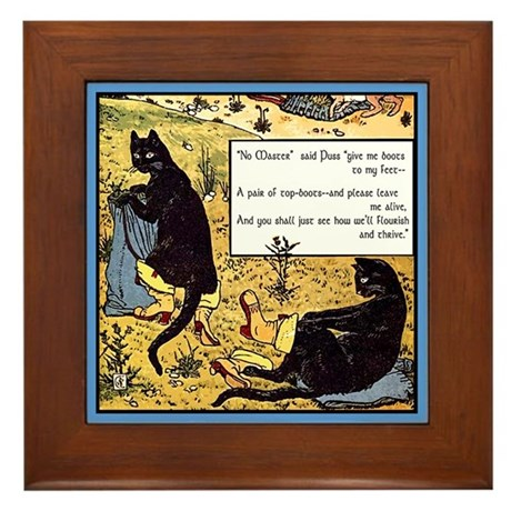 VINTAGE CAT ART Framed Tile