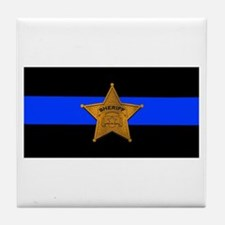 Sheriff Thin Blue Line Tile Coaster