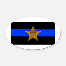 Sheriff Thin Blue Line Oval Car Magnet