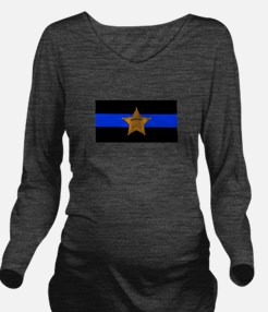 Sheriff Thin Blue Line Long Sleeve Maternity T-Shi