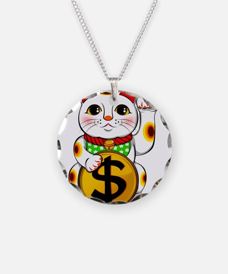 Dollar Lucky Cat Maneki Neko Necklace