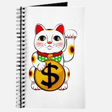 Dollar Lucky Cat Maneki Neko Journal