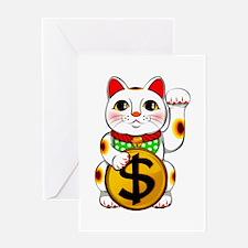 Dollar Lucky Cat Maneki Neko Greeting Cards