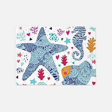 Whimsical Sea Life 5'x7'Area Rug