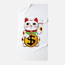 Dollar Lucky Cat Maneki Neko Beach Towel