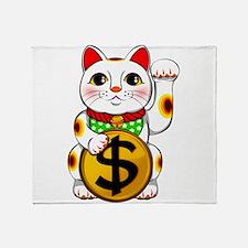 Dollar Lucky Cat Maneki Neko Throw Blanket