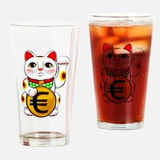 Euro Lucky Cat Maneki Neko Drinking Glass