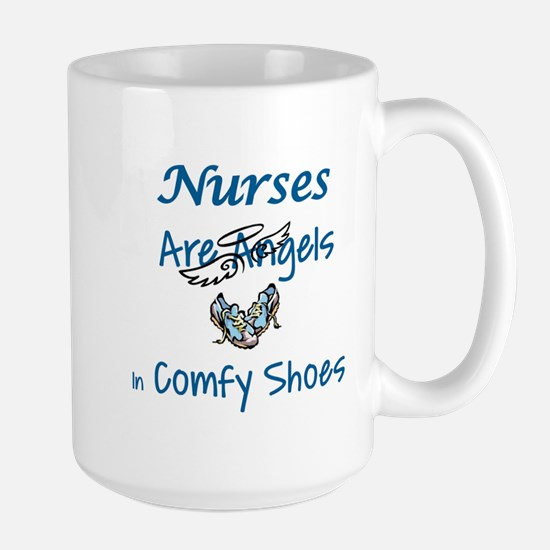 NURSES ARE ANGELS IN COMFY SHOES Large Mug