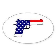 USA flag gun Oval Decal