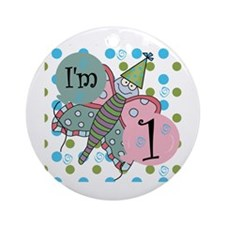 Butterfly 1st Birthday Ornament (Round)