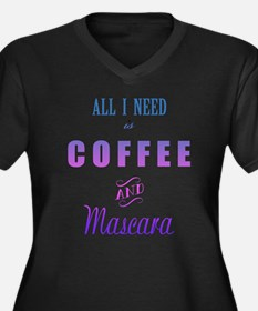 Coffee and M Women's Plus Size V-Neck Dark T-Shirt