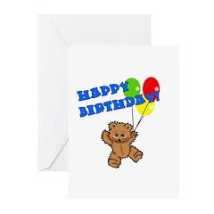 Birthday Bear & Balloons Greeting Cards (Pk of 10)