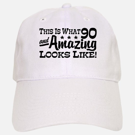 Funny 90th Birthday Baseball Baseball Cap