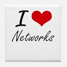 I Love Networks Tile Coaster