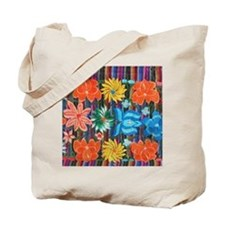 Mexican Flower Embroidery Tote Bag