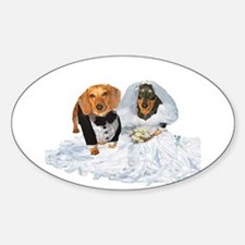 Wedding Dachshunds Dogs Oval Decal