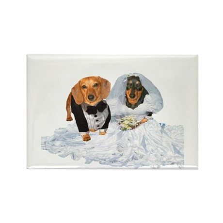 Wedding Dachshunds Dogs Rectangle Magnet