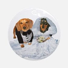 Wedding Dachshunds Dogs Ornament (Round)