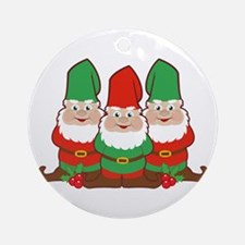 Christmas Gnomes Round Ornament