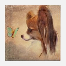Butterfly Dog Tile Coaster