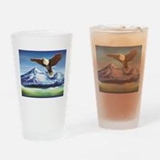 Eagle Above Mt Shasta Drinking Glass