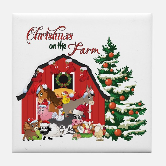 Christmas on the Farm Tile Coaster