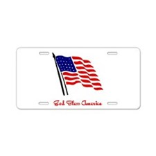 God Bless America Flag Aluminum License Plate