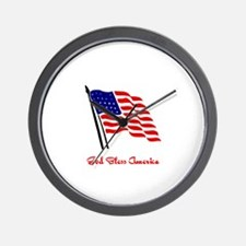 God Bless America Flag Wall Clock